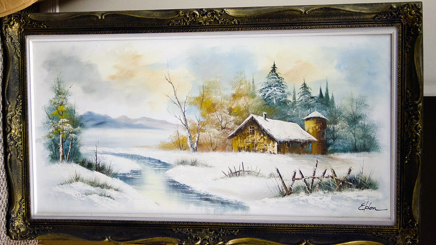 "24""x48"" winter landscape oil painting signed ""Eldon"""