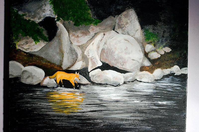 fox acrylic painting