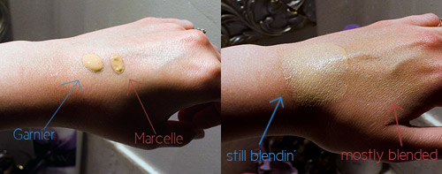 OK, so they're both not great, and a little orange. But the left one takes 100 years to blend, and I can assure you Marcelle looks less orange when blended with both hands.