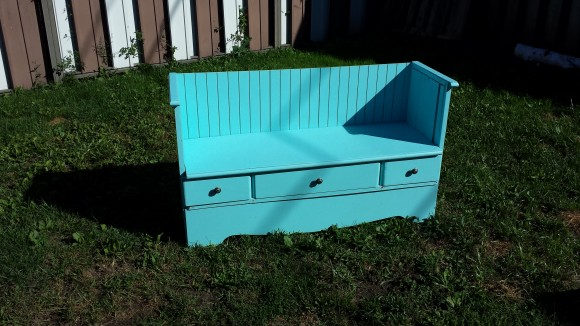 DIY vintage bench from old dresser
