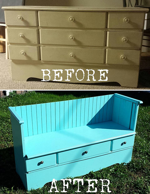 vintage bench from an old dresser!