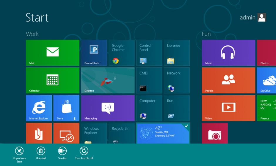 windows 8 start screen app bar