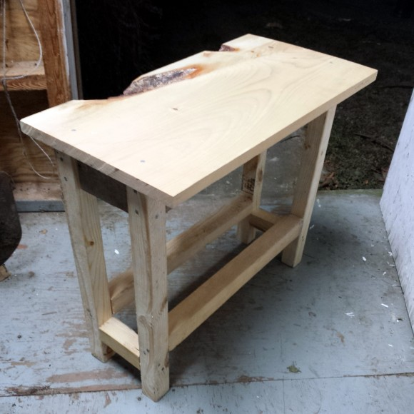 DIY end table pre-stained