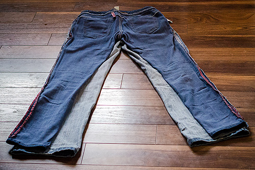 lined up jeans - making skinny jeans from old jeans