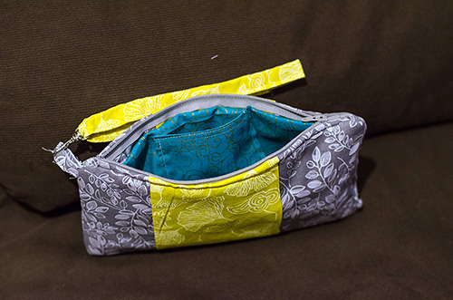 inside the DIY clutch purse -- teal lining
