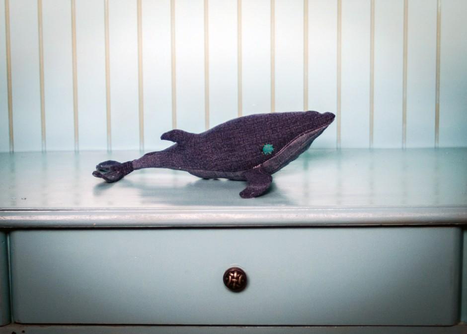 denim whale DIY for little boy's room