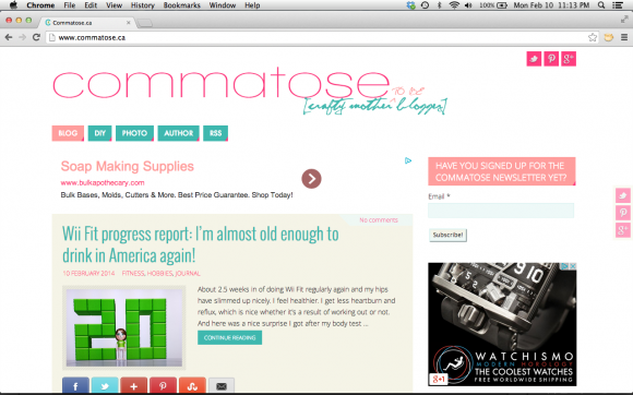 screen shot commatose.ca new mobile look