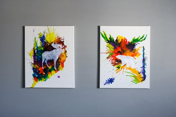 melted crayon and animal silhouettes painting