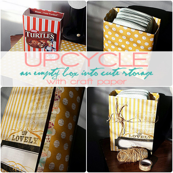 Upcycle an empty box into cute storage with craft paper!