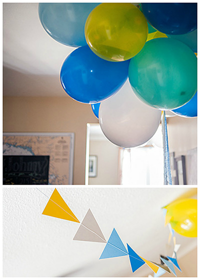 Balloons and triangle garland.