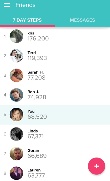 Fitbit friends ranking