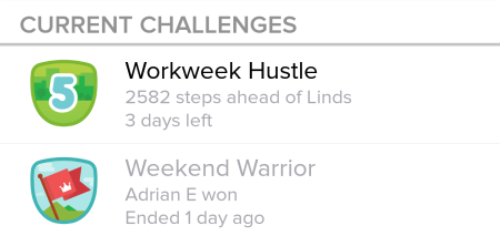 Fitbit Challenges screen