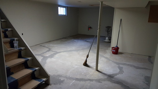 semi-dungeon, semi-finished basement with concrete floor