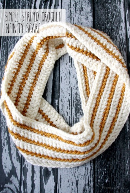 Cozy Striped Crochet Infinity Scarf by Flamingo Toes