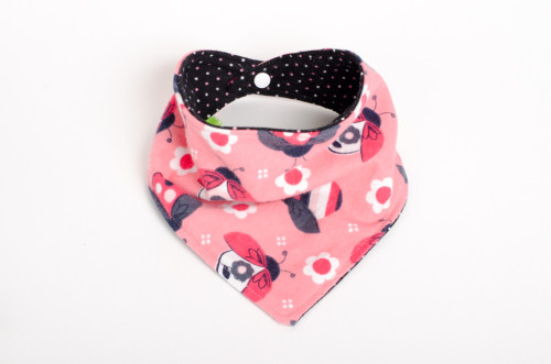 Reversible ladybug bandana bib with dots!
