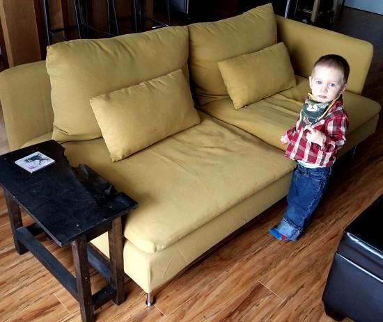 yellow SÖDERHAMN sofa, one armrest