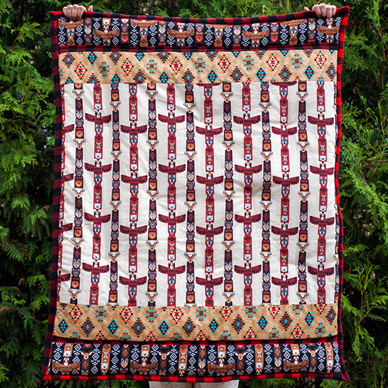 Full length shot of totem poles baby quilt