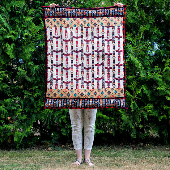 Totem poles and buffalo plaid cotton and flannel quilt