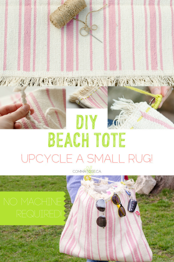 Upcycle a small IKEA rug (or any rug!) into a cute beach bag!
