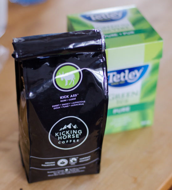 Kicking Horse Kick Ass whole bean fair trade coffee and Tetley Green Tea